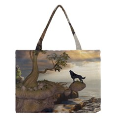 The Lonely Wolf On The Flying Rock Medium Tote Bag