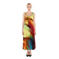 Abstract Acryl Art Sleeveless Maxi Dress