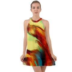 Abstract Acryl Art Halter Tie Back Chiffon Dress