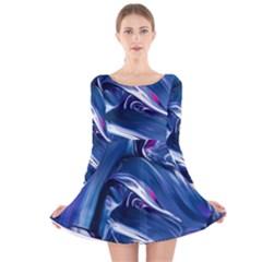 Abstract Acryl Art Long Sleeve Velvet Skater Dress