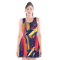 Abstract Acryl Art Scoop Neck Skater Dress