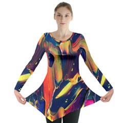 Abstract Acryl Art Long Sleeve Tunic