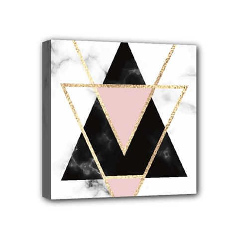 Triangles,gold,black,pink,marbles,collage,modern,trendy,cute,decorative, Mini Canvas 4  X 4