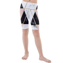 Triangles,gold,black,pink,marbles,collage,modern,trendy,cute,decorative, Kids  Mid Length Swim Shorts