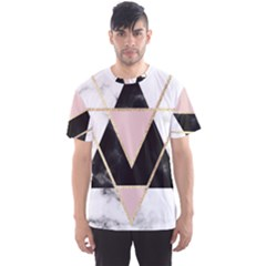 Triangles,gold,black,pink,marbles,collage,modern,trendy,cute,decorative, Men s Sports Mesh Tee
