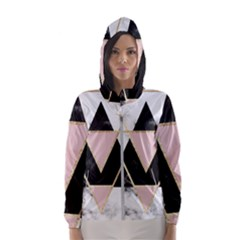 Triangles,gold,black,pink,marbles,collage,modern,trendy,cute,decorative, Hooded Wind Breaker (women)