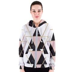 Triangles,gold,black,pink,marbles,collage,modern,trendy,cute,decorative, Women s Zipper Hoodie