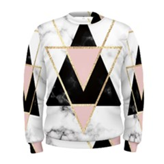 Triangles,gold,black,pink,marbles,collage,modern,trendy,cute,decorative, Men s Sweatshirt