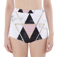 Triangles,gold,black,pink,marbles,collage,modern,trendy,cute,decorative, High Waisted Bikini Bottoms
