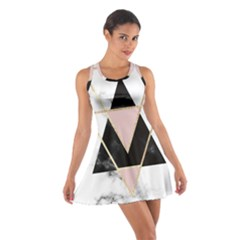 Triangles,gold,black,pink,marbles,collage,modern,trendy,cute,decorative, Cotton Racerback Dress