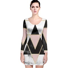 Triangles,gold,black,pink,marbles,collage,modern,trendy,cute,decorative, Long Sleeve Velvet Bodycon Dress