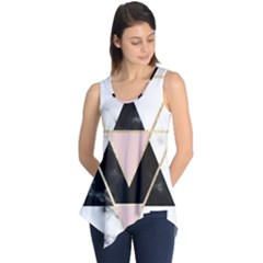 Triangles,gold,black,pink,marbles,collage,modern,trendy,cute,decorative, Sleeveless Tunic