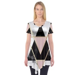 Triangles,gold,black,pink,marbles,collage,modern,trendy,cute,decorative, Short Sleeve Tunic