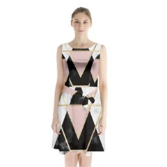 Triangles,gold,black,pink,marbles,collage,modern,trendy,cute,decorative, Sleeveless Waist Tie Chiffon Dress
