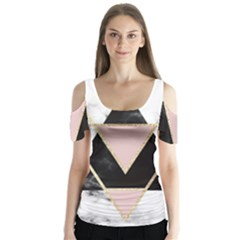 Triangles,gold,black,pink,marbles,collage,modern,trendy,cute,decorative, Butterfly Sleeve Cutout Tee