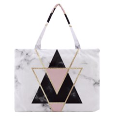 Triangles,gold,black,pink,marbles,collage,modern,trendy,cute,decorative, Zipper Medium Tote Bag