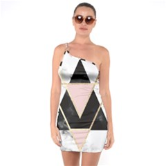 Triangles,gold,black,pink,marbles,collage,modern,trendy,cute,decorative, One Soulder Bodycon Dress