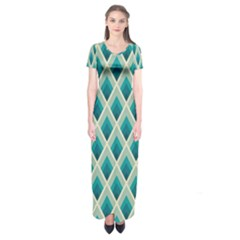 Artdecoteal Short Sleeve Maxi Dress