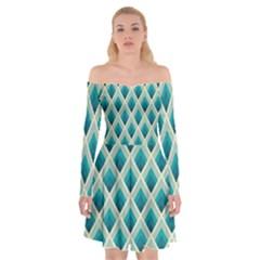 Artdecoteal Off Shoulder Skater Dress