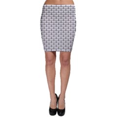 Brick1 Black Marble & White Linen Bodycon Skirt