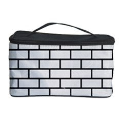 Brick1 Black Marble & White Linen Cosmetic Storage Case