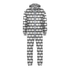 Brick1 Black Marble & White Linen Hooded Jumpsuit (kids)