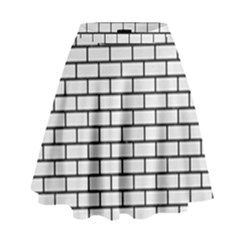 Brick1 Black Marble & White Linen High Waist Skirt