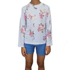 Floral Blue Kids  Long Sleeve Swimwear