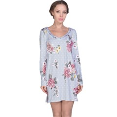 Floral Blue Long Sleeve Nightdress