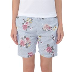 Floral Blue Women s Basketball Shorts