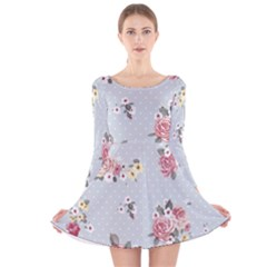 Floral Blue Long Sleeve Velvet Skater Dress