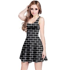 Brick1 Black Marble & White Linen (r) Reversible Sleeveless Dress