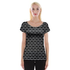 Brick1 Black Marble & White Linen (r) Cap Sleeve Tops