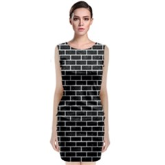 Brick1 Black Marble & White Linen (r) Classic Sleeveless Midi Dress