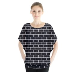 Brick1 Black Marble & White Linen (r) Blouse