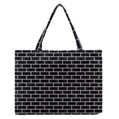 Brick1 Black Marble & White Linen (r) Zipper Medium Tote Bag