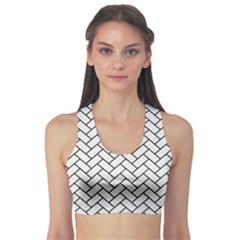 Brick2 Black Marble & White Linen Sports Bra