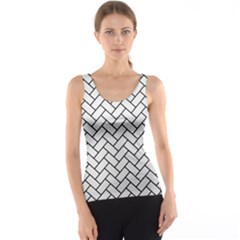 Brick2 Black Marble & White Linen Tank Top