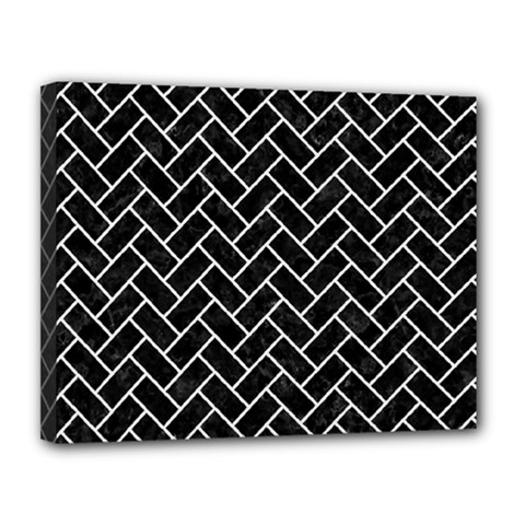 Brick2 Black Marble & White Linen (r) Canvas 14  X 11