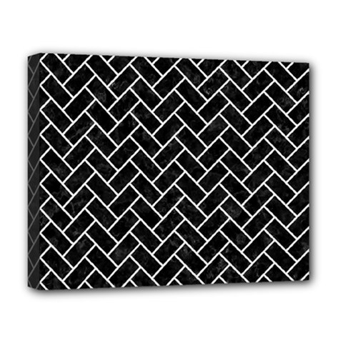 Brick2 Black Marble & White Linen (r) Deluxe Canvas 20  X 16