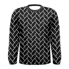 Brick2 Black Marble & White Linen (r) Men s Long Sleeve Tee