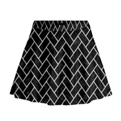 Brick2 Black Marble & White Linen (r) Mini Flare Skirt