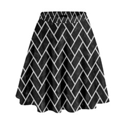 Brick2 Black Marble & White Linen (r) High Waist Skirt