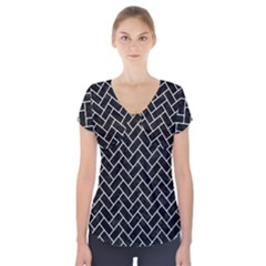 Brick2 Black Marble & White Linen (r) Short Sleeve Front Detail Top