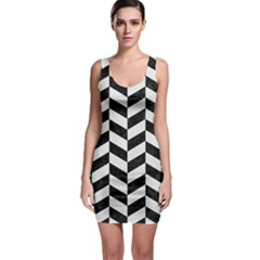 Chevron1 Black Marble & White Linen Bodycon Dress