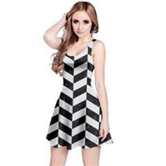 Chevron1 Black Marble & White Linen Reversible Sleeveless Dress