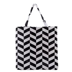 Chevron1 Black Marble & White Linen Grocery Tote Bag