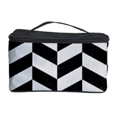 Chevron1 Black Marble & White Linen Cosmetic Storage Case