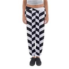 Chevron1 Black Marble & White Linen Women s Jogger Sweatpants