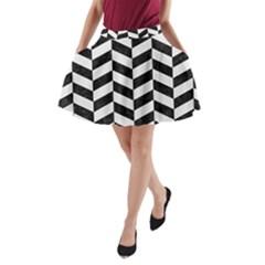 Chevron1 Black Marble & White Linen A Line Pocket Skirt